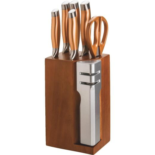 New England Cutlery Stainless Steel Blade Knife Set with Block (7-Piece)